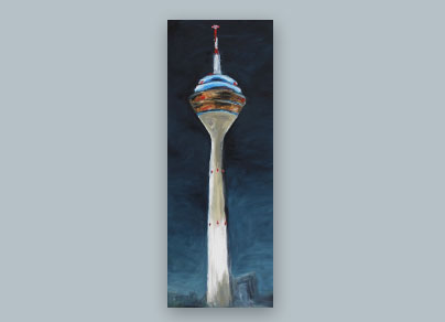 Rheinturm bei Nacht 2015 (60 x 160 cm, Öl auf Leinwand, gerahmt)