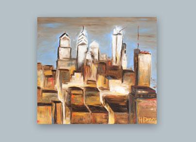 Philadelphia Ausblick II - 2010 (100 x 100 cm, Öl auf Leinwand)