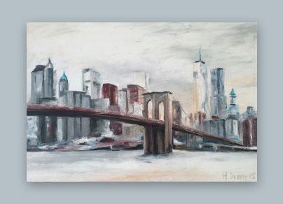 NYC Morgenstimmung 2015 (100 x 70 cm, Öl auf Leinwand)