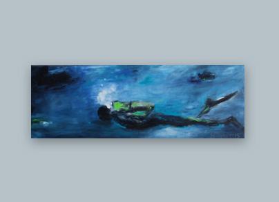 Taucher 2015 (Öl auf Leinwand, 120 x 40 cm)